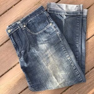 Forever 21 Light Wash Cuffed Jeans